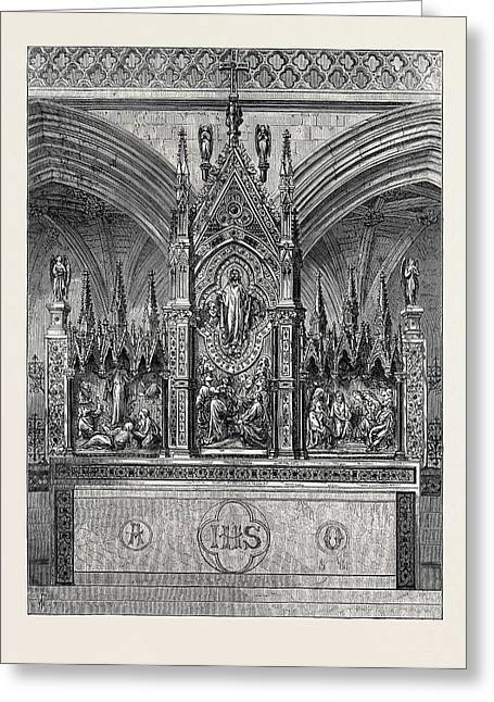 The New Reredos In Exeter Cathedral 1874 Greeting Card by English School