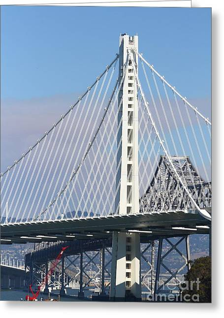 The New San Francisco Oakland Bay Bridge 7d25468 Greeting Card by Wingsdomain Art and Photography
