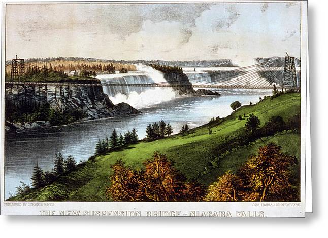 The New Suspension Bridge--niagara Falls Currier & Ives Greeting Card