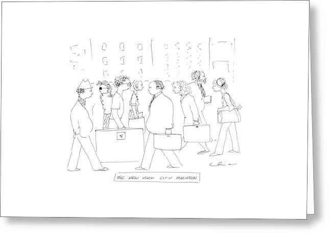 The New York City Marathon Greeting Card by Richard Cline