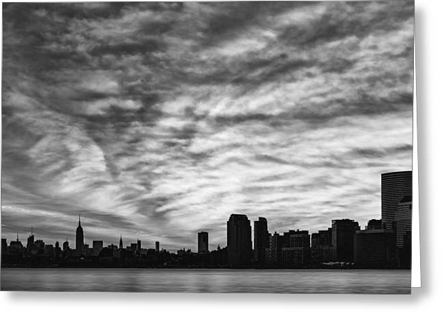 The New York City Skyline Awakens Bw Greeting Card by Susan Candelario