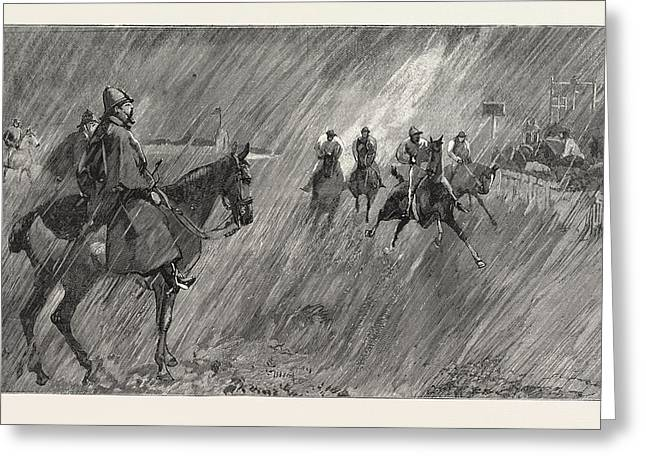 The Newmarket October Meeting Rain On The Course A Good Greeting Card by English School
