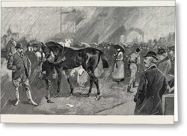 The Newmarket October Meeting The Birdcage On A Rainy Day Greeting Card by English School