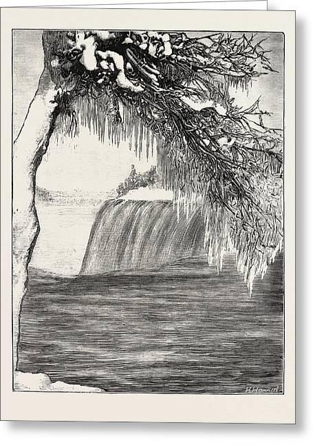 The Niagara Falls In Winter Time American Fall From Luna Greeting Card by English School
