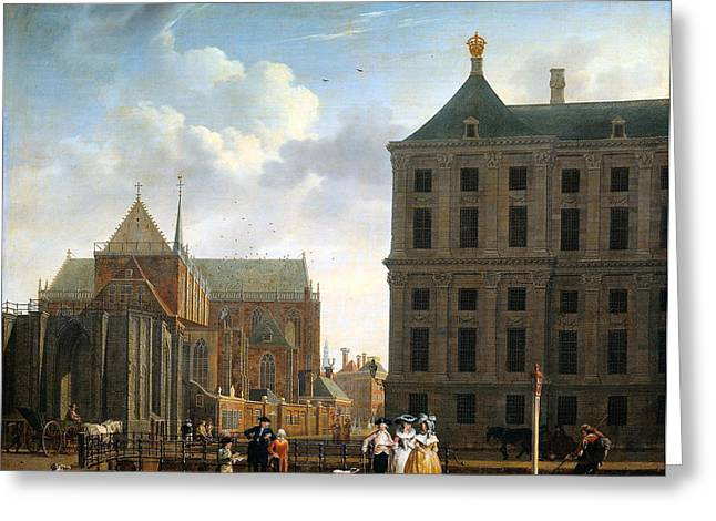 The Nieuwe Kerk And The Rear Of The Town Hall In Amsterdam  Greeting Card by Isaak Ouwater