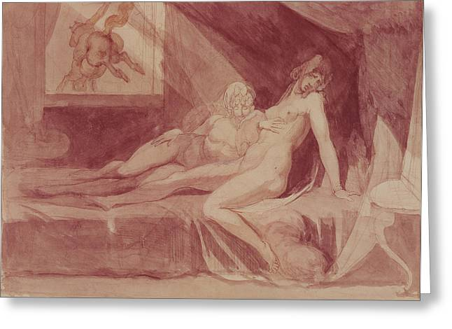 The Nightmare Leaving Two Sleeping Women, 1810 Graphite & Wc On Paper Greeting Card