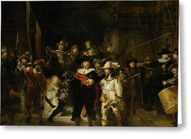 The Nightwatch, 1642 Oil On Canvas Greeting Card