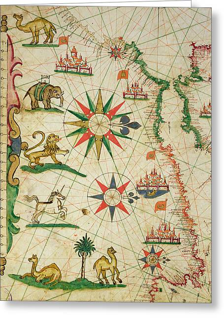 The North African Coast, From A Nautical Atlas, 1651 Ink On Vellum Detail From 330919 Greeting Card by Pietro Giovanni Prunes