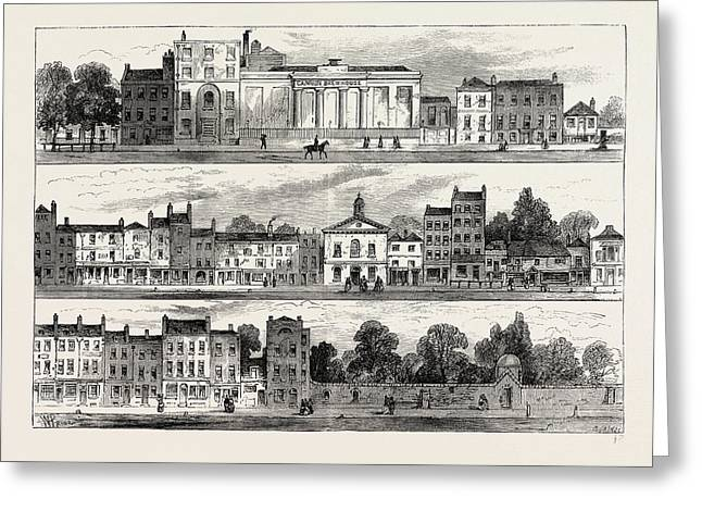 The North Side Of Knightsbridge In 1820 Greeting Card