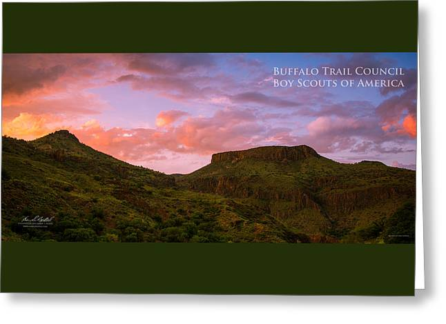 The Notch At Sunset - Pano Greeting Card