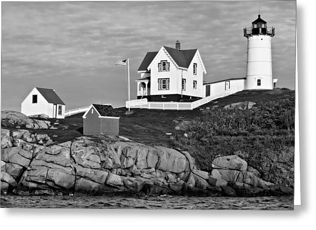 The Nubble - Bw Greeting Card by Nikolyn McDonald