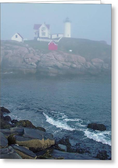 The Nubble Lighthouse At York Maine Greeting Card by Suzanne Gaff