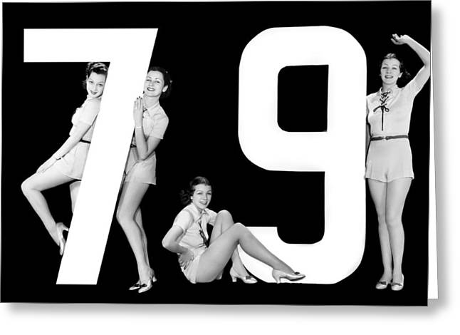 The Number 79 And Four Women Greeting Card by Underwood Archives