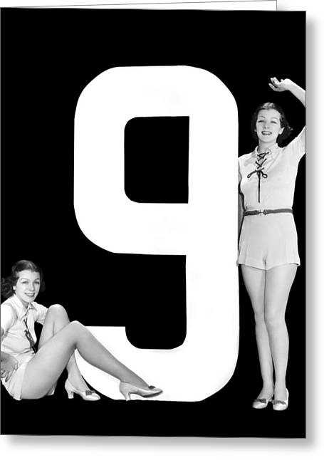 The Number 9 And Two Women Greeting Card by Underwood Archives