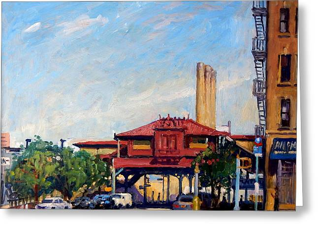The Number One Train 215th Street Station Nyc Greeting Card by Thor Wickstrom