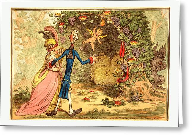 The Nuptial Bower, With The Evil One, Peeping At The Charms Greeting Card