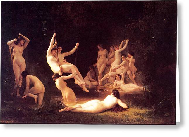 The Nymphaeum Greeting Card by William-Adolphe Bouguereau
