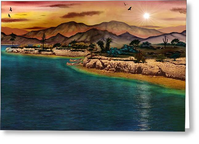 The Oasis Greeting Card by Michael Rucker