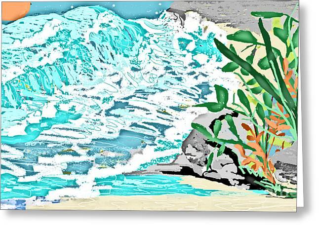 The Ocean Blues Greeting Card by Sherry  Hatcher