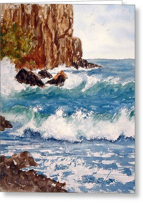 The Ocean Cliffs Greeting Card by Sandra Stone