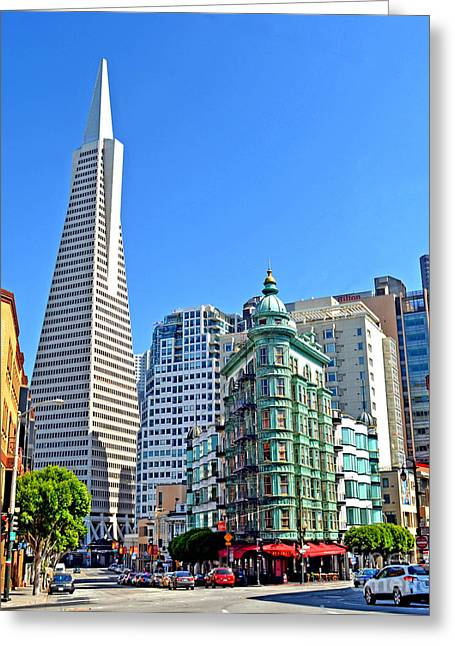 The Old And The New The Columbus Tower And The Transamerica Pyramid II Greeting Card by Jim Fitzpatrick