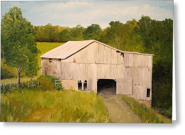 Greeting Card featuring the painting The Old Barn by Alan Lakin