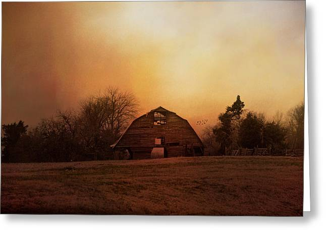 The Old Barn On A Fall Evening Greeting Card by Jai Johnson
