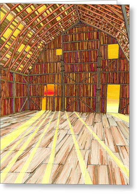 Greeting Card featuring the drawing The Old Barn by Scott Kirby