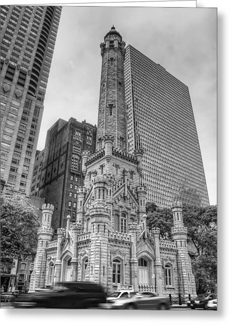 The Old Chicago Water Tower Bw Greeting Card by Noah Katz