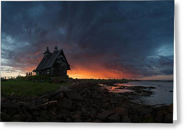 The Old Church On The Coast Of White Sea Greeting Card by Sergey Ershov