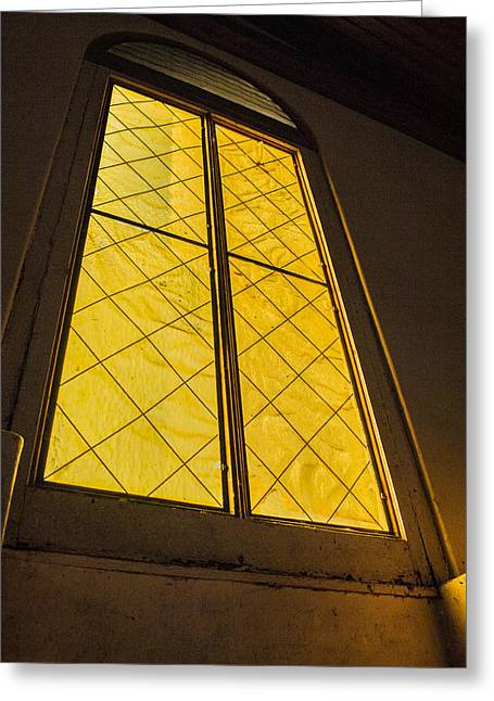Greeting Card featuring the photograph The Old Church Window  by Naomi Burgess