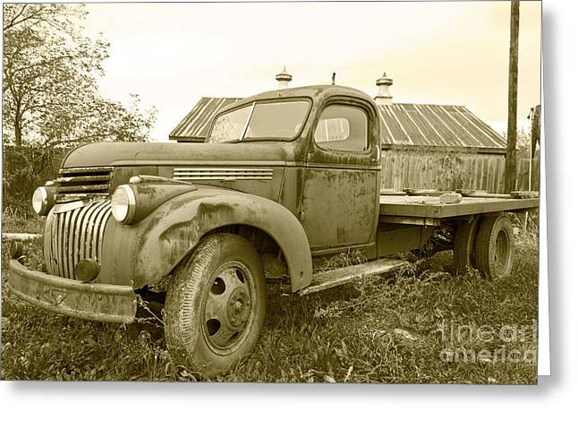 The Old Farm Truck Greeting Card by John Debar