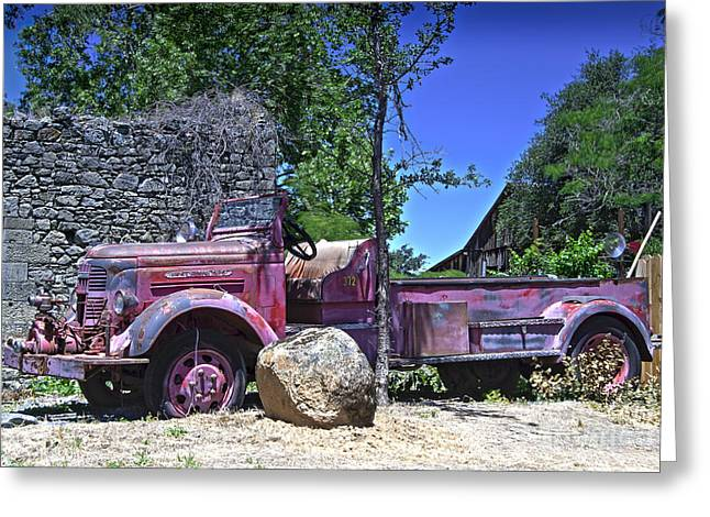 The Old Firetruck Greeting Card by Wayne Wilton