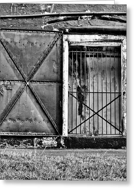 The Old Fort Gate-black And White Greeting Card