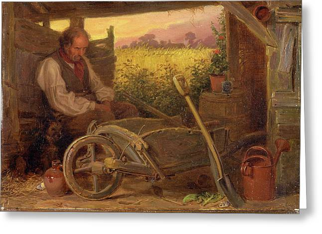 The Old Gardener Signed And Dated, Lower Right Br 1863 Greeting Card