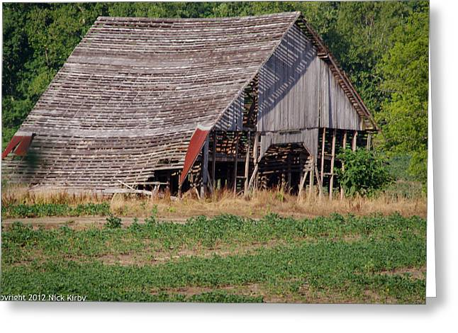 Greeting Card featuring the photograph The Old Gray Barn by Nick Kirby