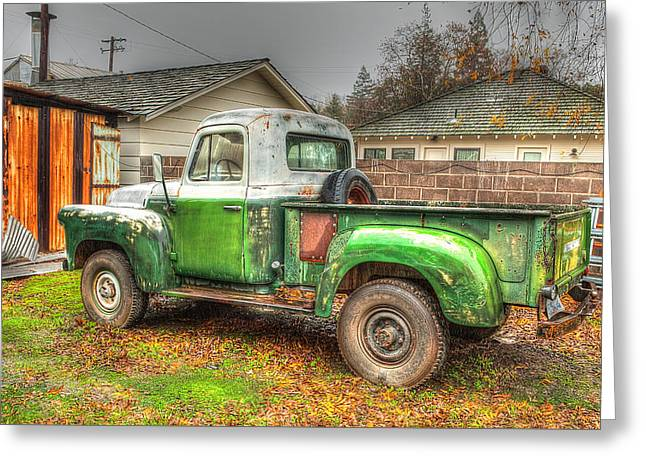 Greeting Card featuring the photograph The Old Green Truck by Jim Thompson