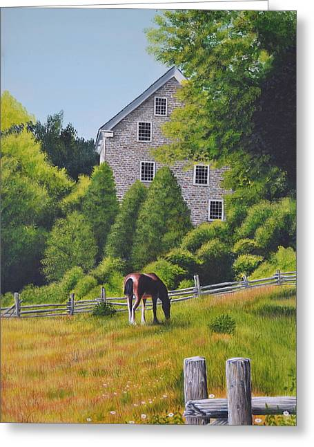 The Old Grist Mill Greeting Card by Dave Hasler