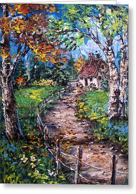 Greeting Card featuring the painting The Old Homestead by Megan Walsh