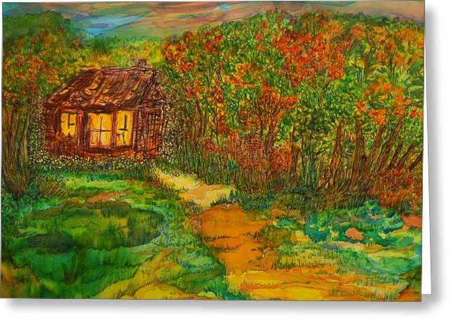Greeting Card featuring the painting The Old Homestead by Susan D Moody