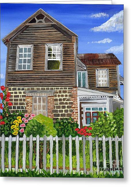 Greeting Card featuring the painting The Old House by Laura Forde