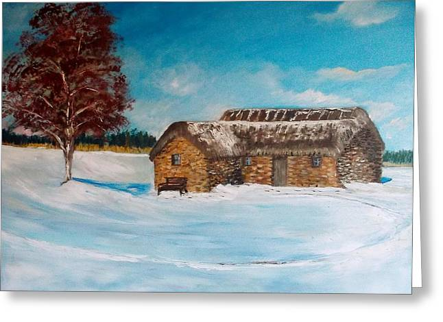 the Old Leanach cottage  Greeting Card by Dawn Noble