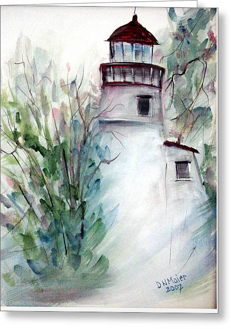 Greeting Card featuring the painting The Old Lighthouse by Dorothy Maier