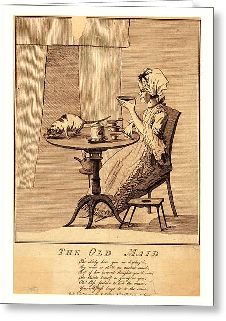 The Old Maid, En Sanguine Engraving Greeting Card by English School