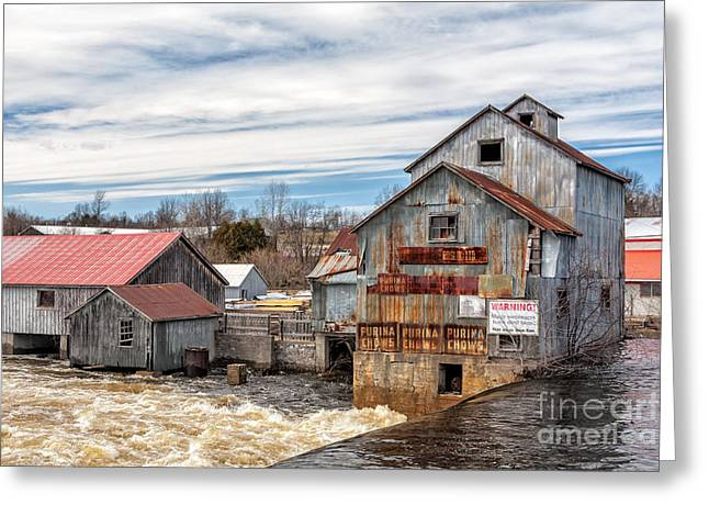 The Old Mill And The Raging River Greeting Card