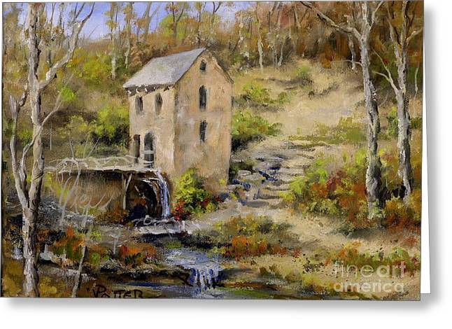 The Old Mill In Late Fall Greeting Card by Virginia Potter