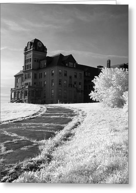 The Old Odd Fellows Home Bw Greeting Card by Luke Moore