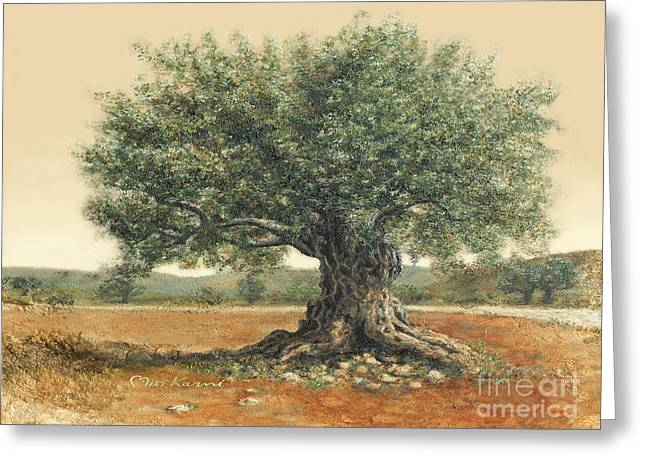 The  Old Olive Tree. By Miki Karni Greeting Card