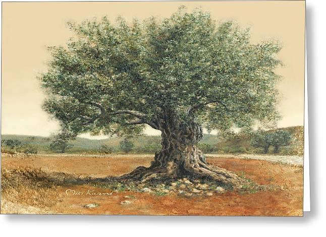 The  Old Olive Tree. By Miki Karni Greeting Card by Miki Karni