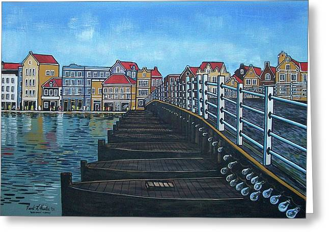 The Old Queen Emma Bridge In Curacao Greeting Card